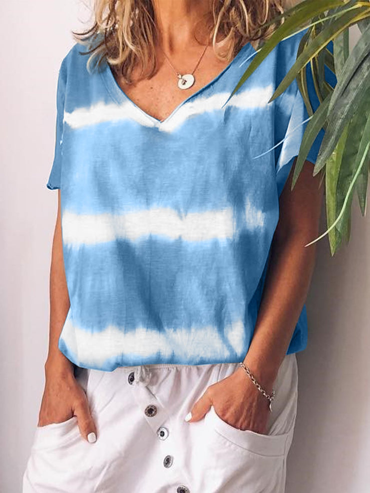V-neck Short Sleeve Striped Floral Casual T-shirts Plus Size-TOPS-Wotoba-Blue-S-Wotoba