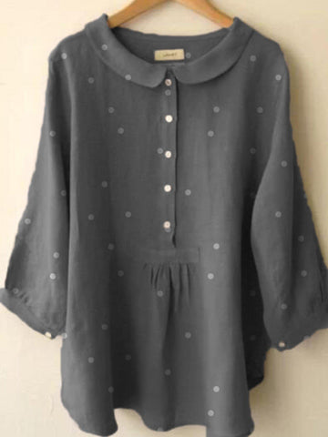Cotton-Blend Peter Pan Collar Solid Shirts & Tops-Top-Wotoba-Gray-S-Wotoba