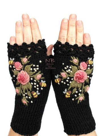 Black Cotton-Blend Casual Gloves & Mittens-Accessories-Wotoba-Black-One-size-Wotoba