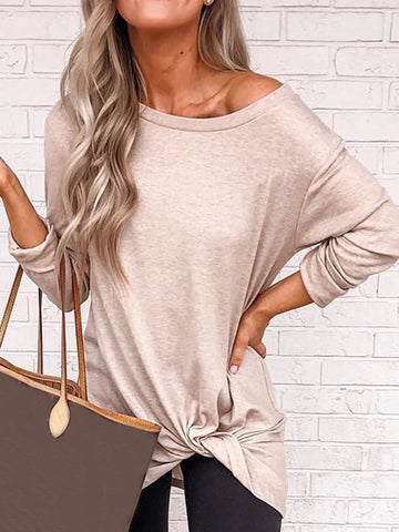 Plus Size Casual Long Sleeve Solid Tops-Top-Wotoba-Apricot-S-Wotoba
