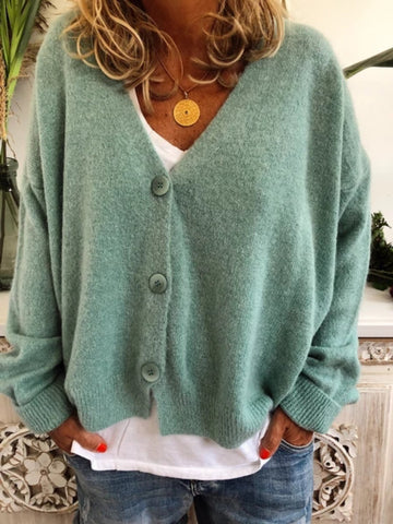 Women Cardigan Casual V neck Tunic Long Sleeve SweaterTops Plus Size-Top-Wotoba-Green-M-Wotoba
