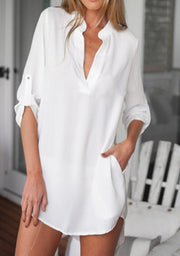 Summer V-Neck Long Sleeve Casual Loose Blouse-TOPS-Wotoba-White-S-Wotoba