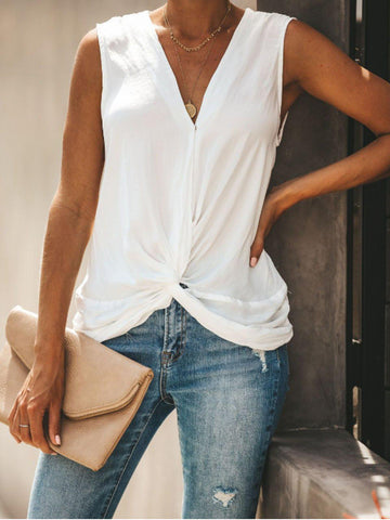 V Neck Sexy Solid Tank-Top-Wotoba-White-S-Wotoba