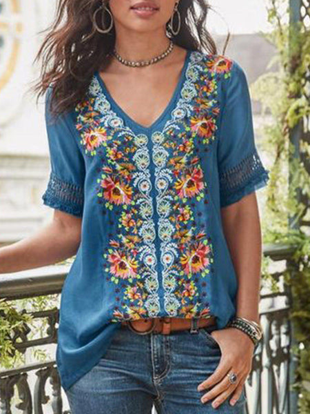 Casual Short Sleeve Patchwork V Neck Shirt-Top-SH4C81F1-Blue-S-Wotoba
