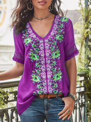 Casual Short Sleeve Patchwork V Neck Shirt-TOPS-SH4C81F1-Purple-S-Wotoba