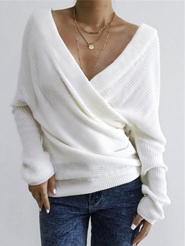 Women Casual Tops Tunic V Neck Sweater Plus Size-Top-Wotoba-White-M-Wotoba