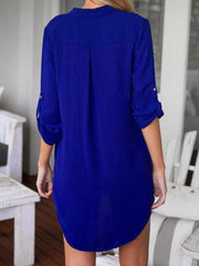 Summer V-Neck Long Sleeve Casual Loose Blouse-TOPS-Wotoba-Navy Blue-S-Wotoba