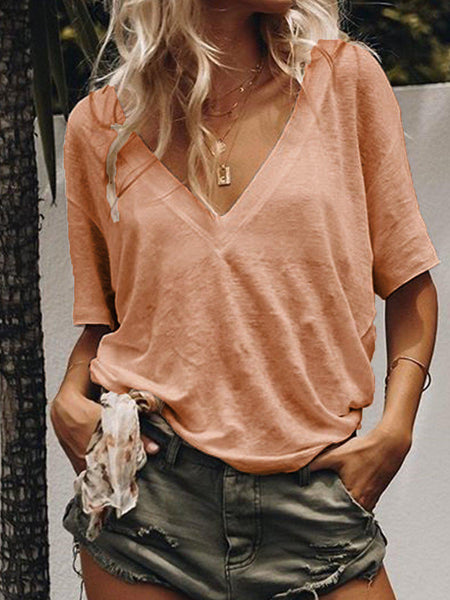 Summer Short Sleeve Casual Loose V Neck Daily T-shirts-Top-Wotoba-Orange-S-Wotoba