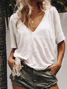 Summer Short Sleeve Casual Loose V Neck Daily T-shirts-Top-Wotoba-White-S-Wotoba
