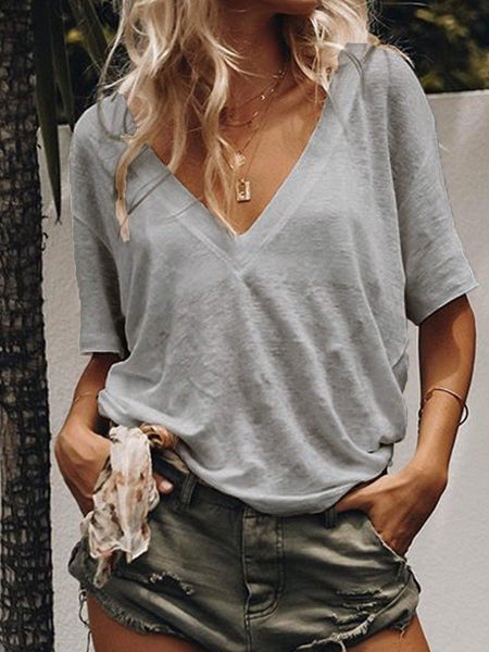 Summer Short Sleeve Casual Loose V Neck Daily T-shirts-Top-Wotoba-Gray-S-Wotoba