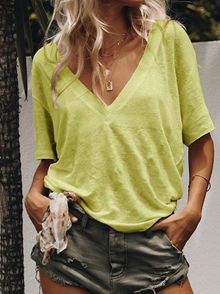 Summer Short Sleeve Casual Loose V Neck Daily T-shirts-Top-Wotoba-Yellow-S-Wotoba