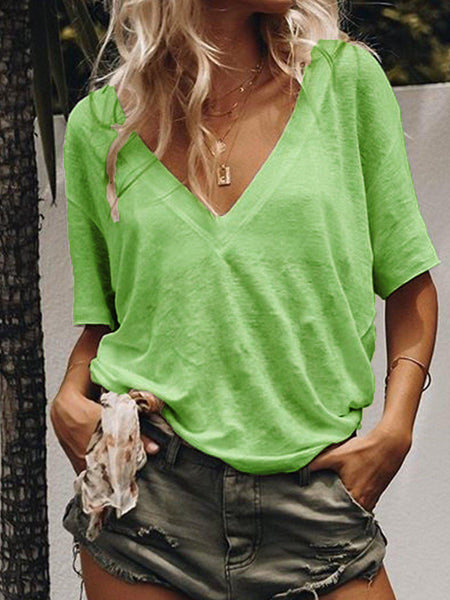 Summer Short Sleeve Casual Loose V Neck Daily T-shirts-Top-Wotoba-Green-S-Wotoba