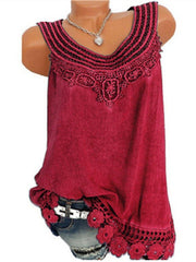 Women Solid Sleeveless Lace Tops Plus Size-TOPS-Wotoba-Wine Red-S-Wotoba