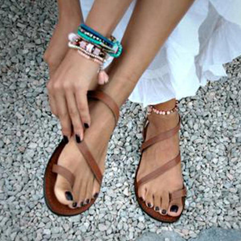 Sandals - Casual Fashion Sandals-Shoe-Wotoba-Brown-35-Wotoba