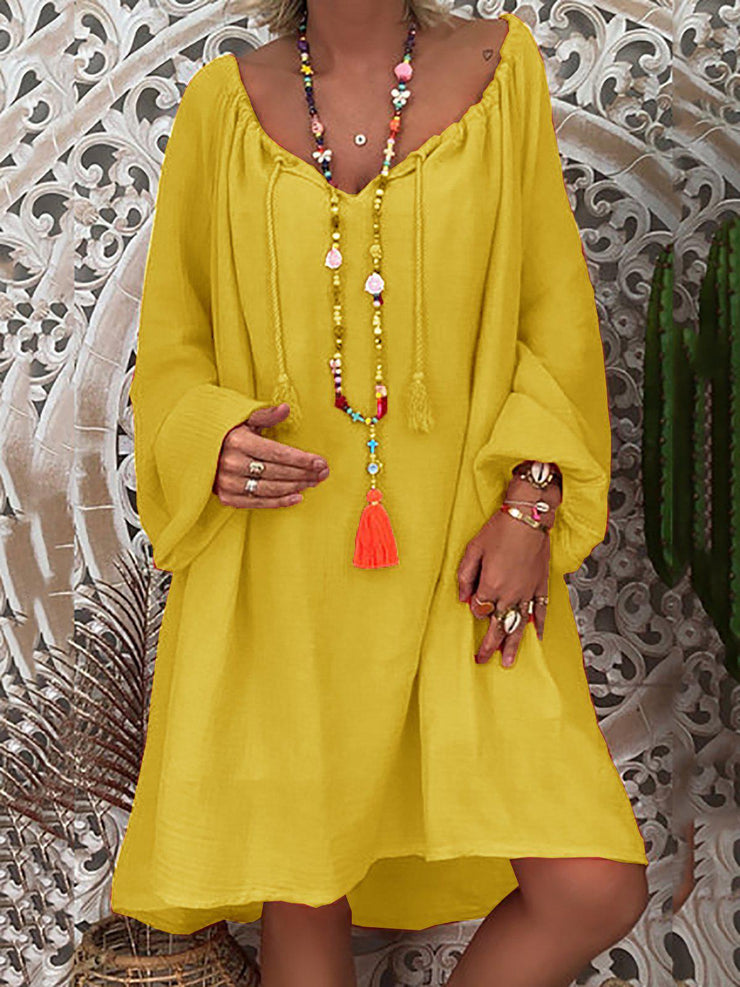 Daytime Long Sleeve Summer Solid Shift Loose Dress-dress-Wotoba-Yellow-S-Wotoba
