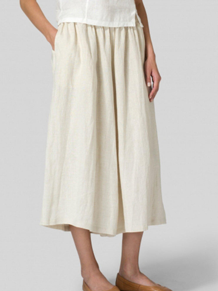 Summer Casual Pockets Mid-weight Linen Pant-Bottom-Wotoba-Apricot-S-Wotoba
