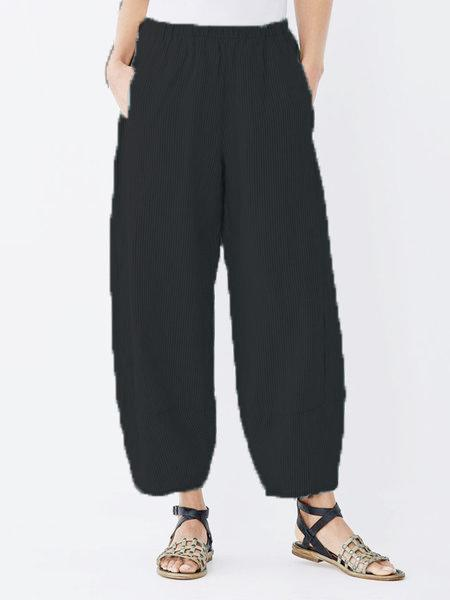 Daily Plus Size Pockets Cotton Linen Pants-Bottom-Wotoba-Black-S-Wotoba