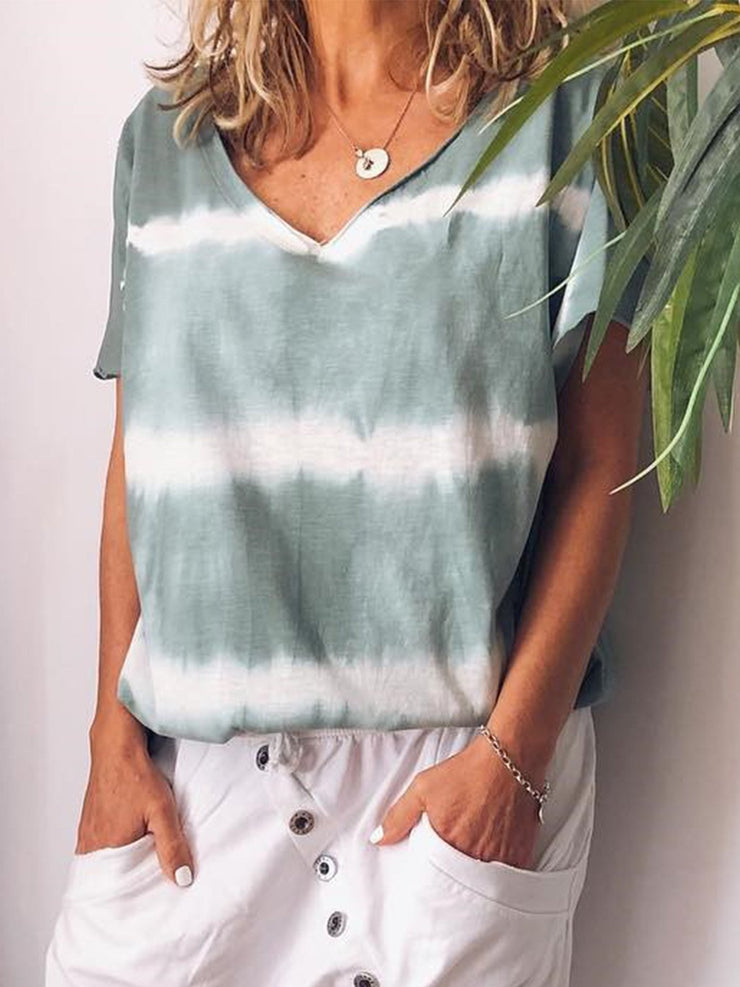 V-neck Short Sleeve Striped Floral Casual T-shirts Plus Size-TOPS-Wotoba-Water green-S-Wotoba