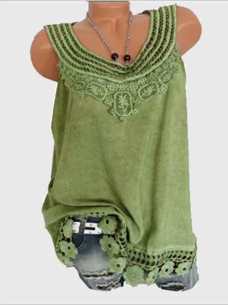 Women Solid Sleeveless Lace Tops Plus Size-TOPS-Wotoba-Army Green-S-Wotoba