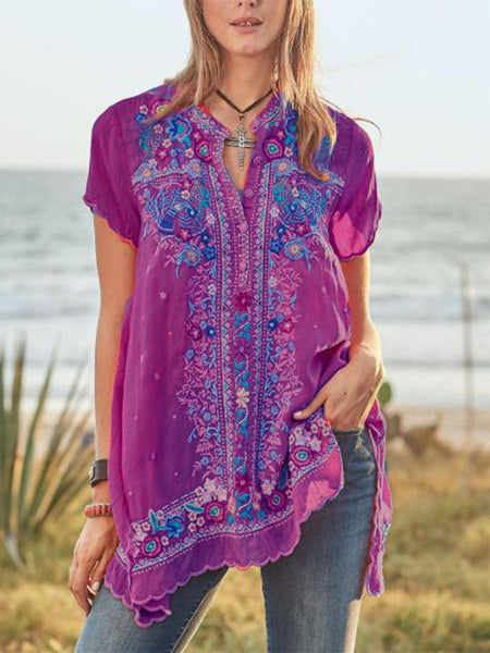 Casual Short Sleeve V Neck Printed Shirts-Top-Wotoba-Purple-S-Wotoba
