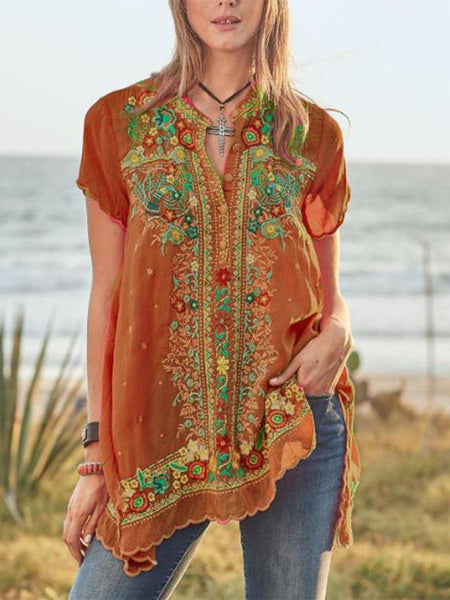 Casual Short Sleeve V Neck Printed Shirts-Top-Wotoba-Orange-S-Wotoba