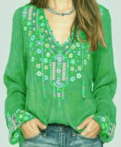 Women Boho Blouses Long Sleeve Floral Cotton Plus Size-Top-size-bust-5xl-130-Green-S-Wotoba