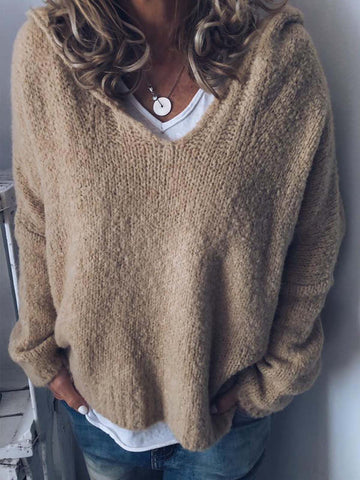 V Neck Long Sleeve Knitted Casual Hoodie Sweaters-Top-Wotoba-Beige-S-Wotoba