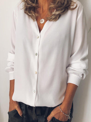 White Solid Chiffon Casual Shirts & Tops-Top-Wotoba-White-S-Wotoba