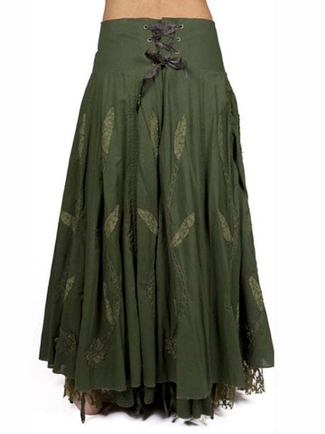 Vintage Cotton-Blend Skirts-dress-Wotoba-Green-S-Wotoba