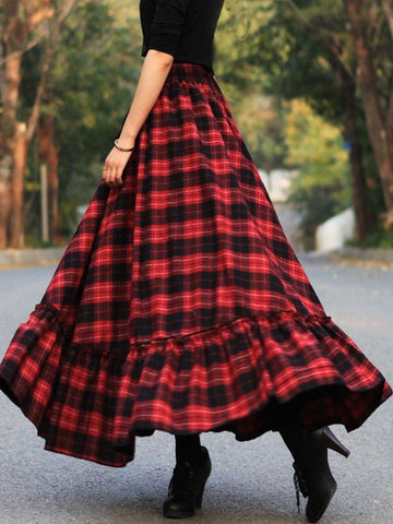 Plaid Skirts Vintage Cotton Long Skirt for Women-dress-Wotoba-Red-S-Wotoba