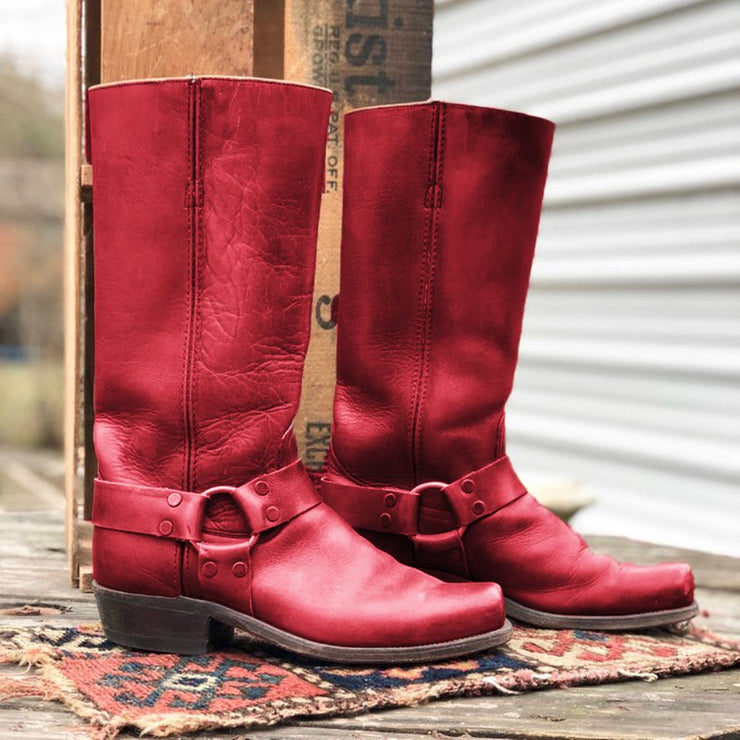 Women Boots Vintage Slip-On Mid-Calf Boots Chunky Heel Square Toe Cowboy-Shoe-Wotoba-Red-35-Wotoba