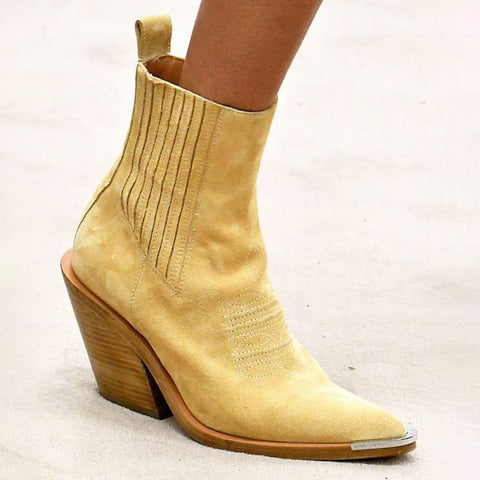 Yellow Casual Leather All Season Boots-Shoe-Wotoba-Yellow-35-Wotoba