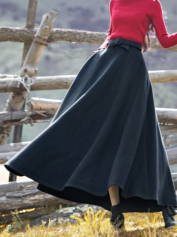 Vintage Casual Wool Blend Plus Size Skirt