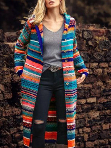 Women Coat Hoodie Blancket Blue Casual Long Sleeve Aztec-Top-Wotoba-Blue-S-Wotoba