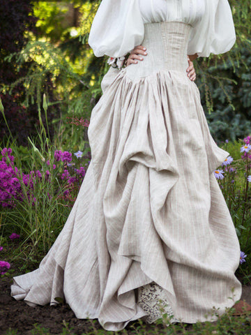 Vintage Boho Skirts Linen Wedding Prom Corset Skirt Plus Size-dress-Wotoba-Beige-S-Wotoba