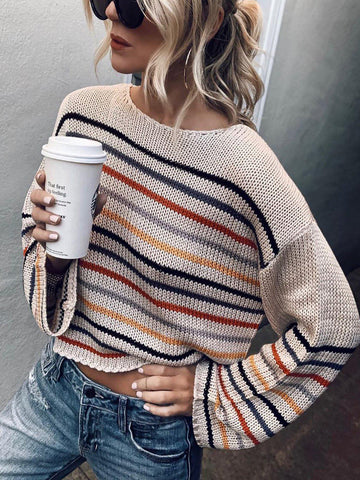 Women Sweater Holiday Striped Cotton-Blend