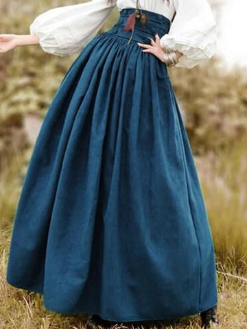 Vintage Skirts Cotton Solid High Waisted Skirt-dress-Wotoba-Deep Blue-S-Wotoba