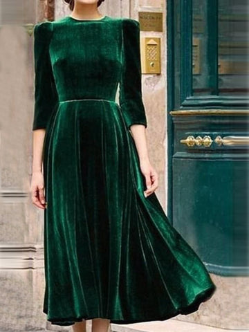 Vintage Women Dress Velvet Solid Half Sleeve Dresses-dress-Wotoba-Army Green-S-Wotoba