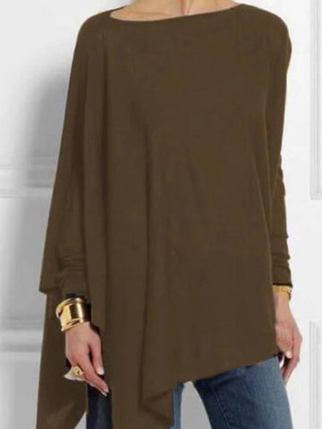 Women Blouse Solid Round Neck Long Sleeve Tops Plus Size-Top-Wotoba-Coffee-S-Wotoba