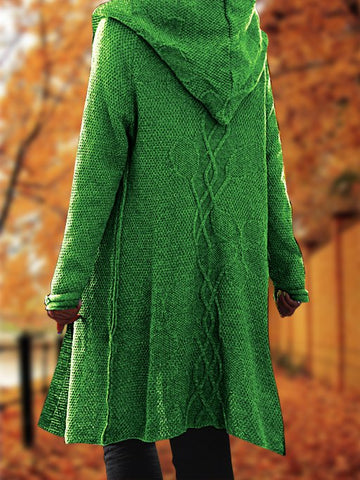 Women Floral Knitted Hooded Cardigan Plus Size Outerwear with Hooded-Top-Wotoba-Green-S-Wotoba