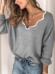 Women Casual Long Sleeve Cotton-blend Sweater for Winter-TOPS-Wotoba-Gray-S-Wotoba
