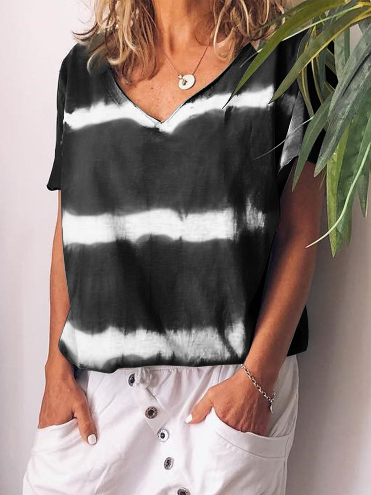 V-neck Short Sleeve Striped Floral Casual T-shirts Plus Size-TOPS-Wotoba-Black-S-Wotoba