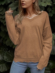 Women Sweaters V neck Solid Knitted Loose Plus Size Pullover Sweaters Plus Size-TOPS-Wotoba-Gray-S-Wotoba
