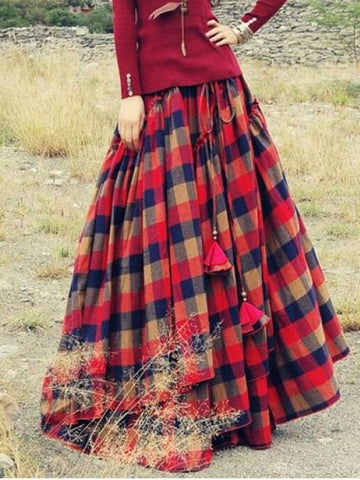 Plaid Skirt Asymmetric Plus Size Long Skirts-dress-Wotoba-Red-S-Wotoba