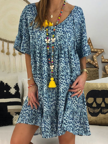 Chic Abstract Printed Crew Neck Short Sleeve Dress-dress-Wotoba-Blue-S-Wotoba