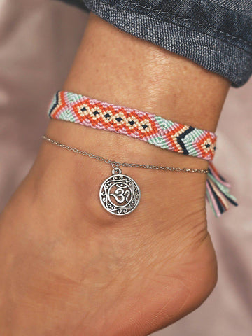 2 Pieces Braided Anklets Bohemian Openwork Yoga Chains-Accessories-Wotoba-As Picture-One-size-Wotoba