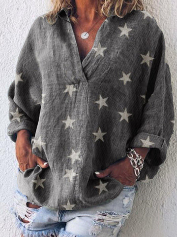 Long Sleeve Casual V Neck Solid Shirts & Tops-Top-Wotoba-Gray-S-Wotoba