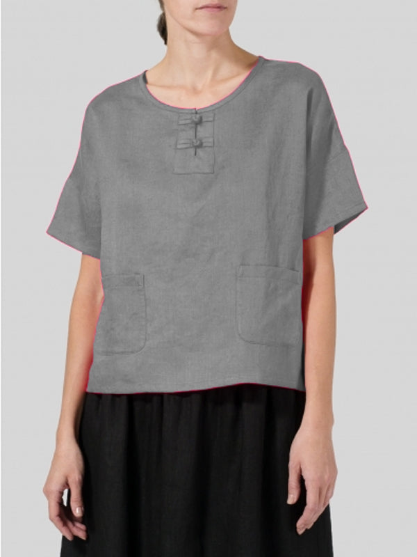 Casual Short Sleeve Round Neck Solid Plus Size Top-TOPS-Wotoba-Gray-S-Wotoba