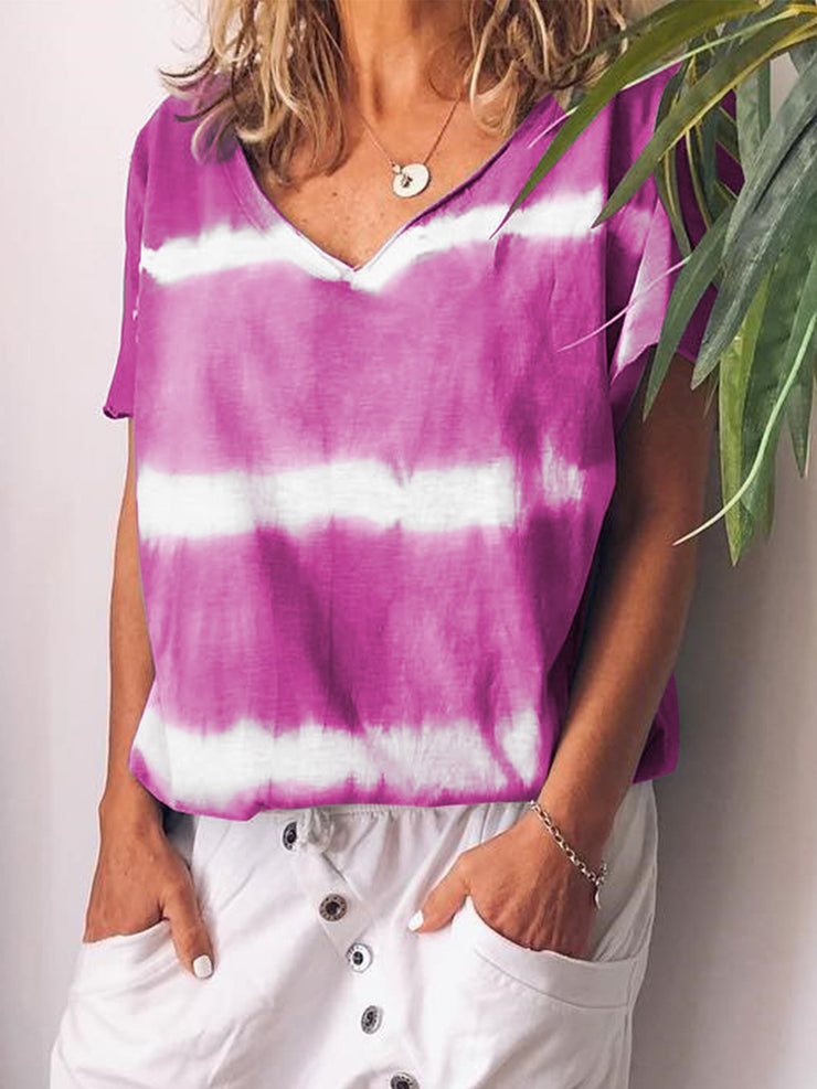 V-neck Short Sleeve Striped Floral Casual T-shirts Plus Size-TOPS-Wotoba-Purple-S-Wotoba