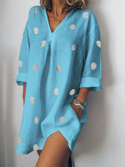 Daily Casual Cotton Polka Dots V-Neck Loose Dress-dress-Wotoba-Blue-S-Wotoba